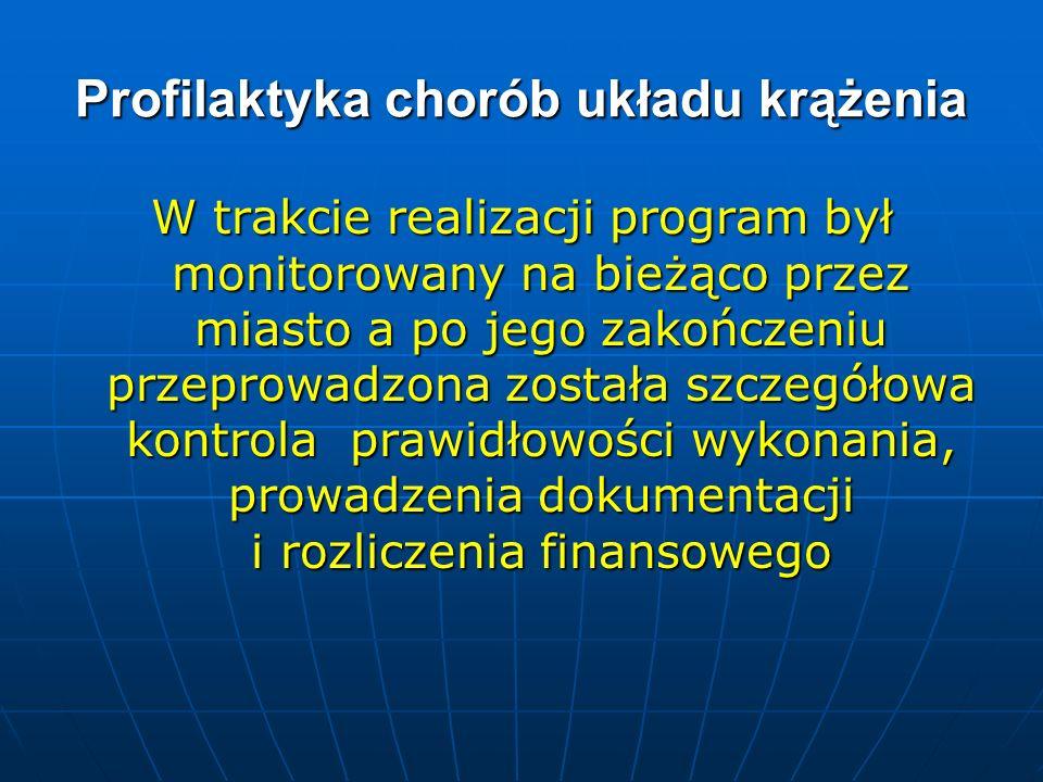 Profilaktyka chorób układu krążenia W trakcie realizacji program był monitorowany na bieżąco przez miasto a po jego zakończeniu przeprowadzona została