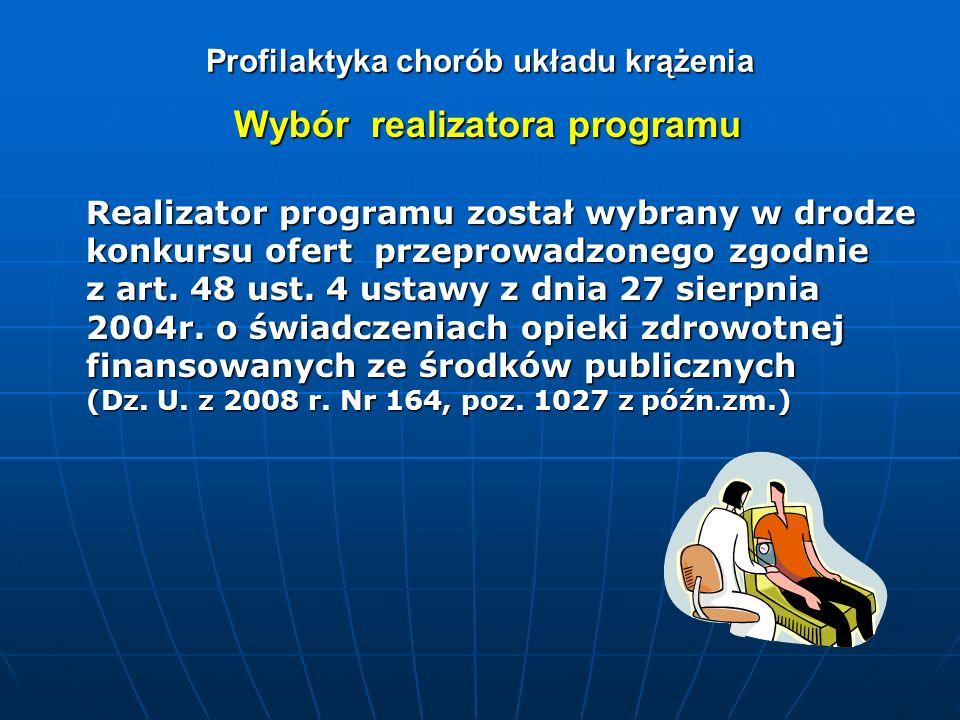 Profilaktyka chorób układu krążenia Wybór realizatora programu Realizator programu został wybrany w drodze konkursu ofert przeprowadzonego zgodnie z a