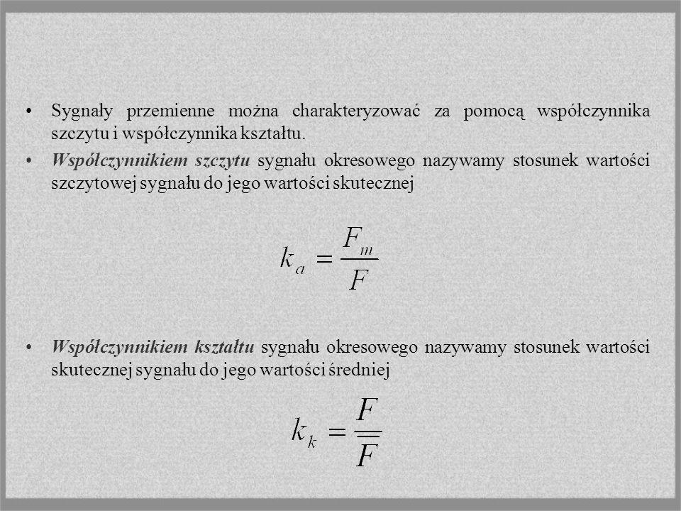 Sygnały przemienne można charakteryzować za pomocą współczynnika szczytu i współczynnika kształtu. Współczynnikiem szczytu sygnału okresowego nazywamy