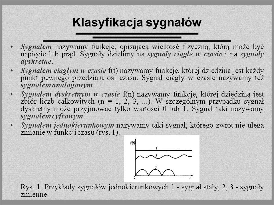 Klasyfikacja sygnałów Sygnałem nazywamy funkcję, opisującą wielkość fizyczną, którą może być napięcie lub prąd. Sygnały dzielimy na sygnały ciągłe w c