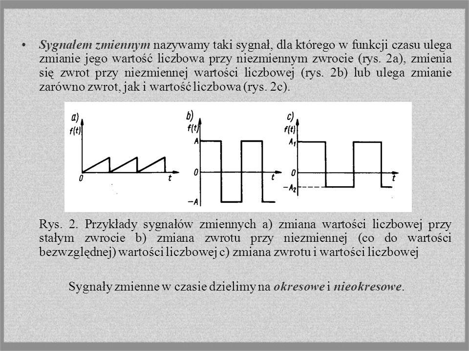 Sygnałem zmiennym nazywamy taki sygnał, dla którego w funkcji czasu ulega zmianie jego wartość liczbowa przy niezmiennym zwrocie (rys. 2a), zmienia si