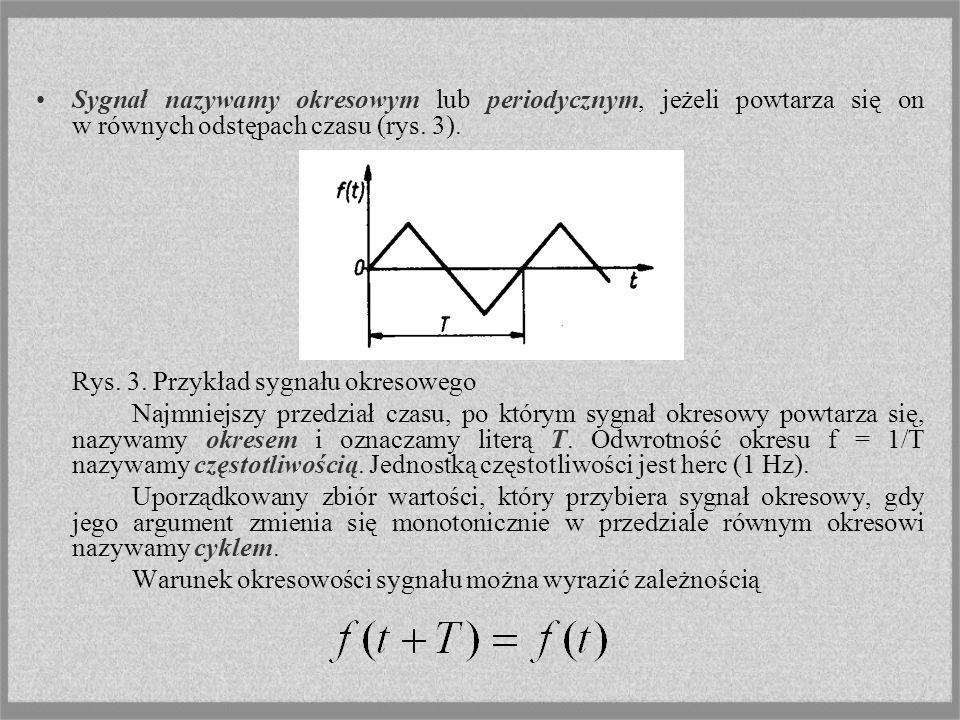 Sygnał nazywamy okresowym lub periodycznym, jeżeli powtarza się on w równych odstępach czasu (rys. 3). Rys. 3. Przykład sygnału okresowego Najmniejszy
