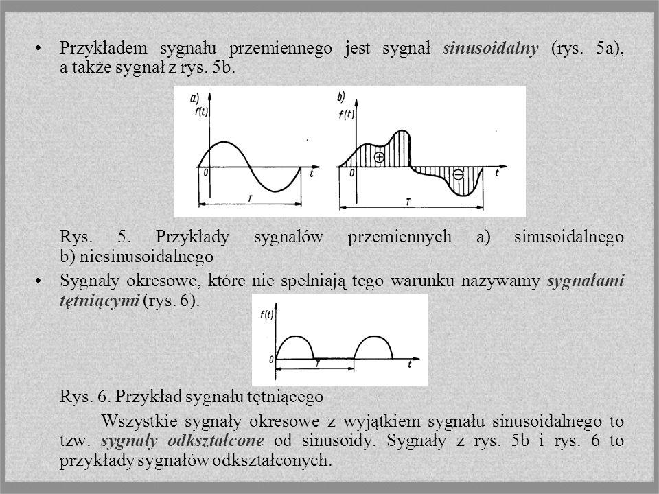 Przykładem sygnału przemiennego jest sygnał sinusoidalny (rys. 5a), a także sygnał z rys. 5b. Rys. 5. Przykłady sygnałów przemiennych a) sinusoidalneg
