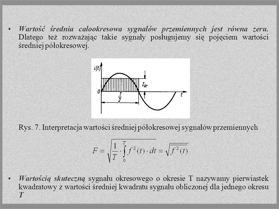 Wartość średnia całookresowa sygnałów przemiennych jest równa zeru. Dlatego też rozważając takie sygnały posługujemy się pojęciem wartości średniej pó