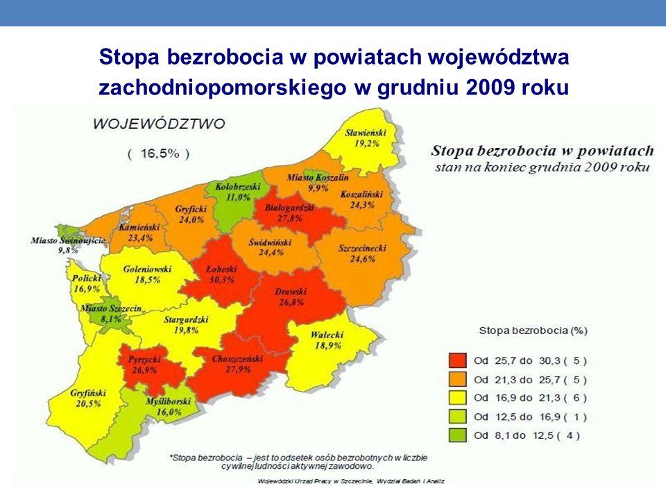 Stopa bezrobocia w powiatach województwa zachodniopomorskiego w grudniu 2009 roku