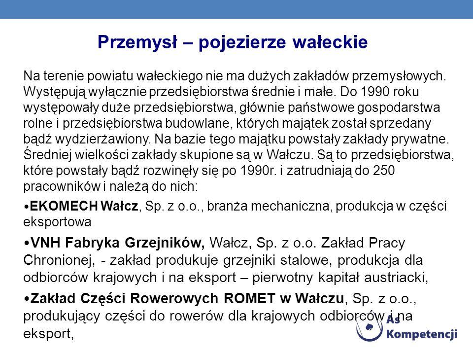 Przemysł – pojezierze wałeckie Na terenie powiatu wałeckiego nie ma dużych zakładów przemysłowych. Występują wyłącznie przedsiębiorstwa średnie i małe