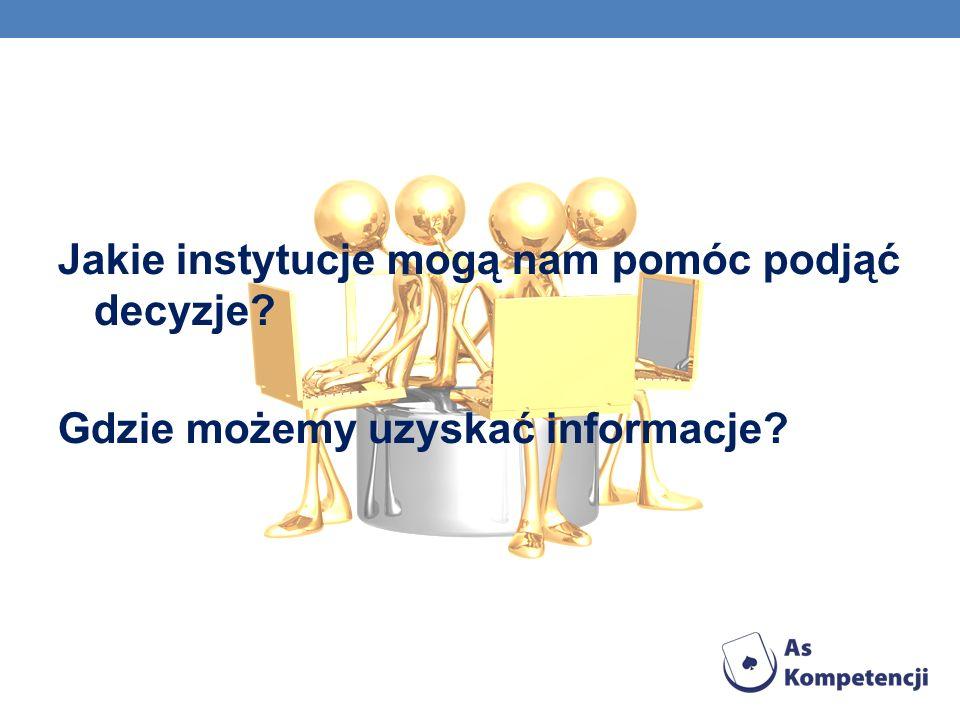 Jakie instytucje mogą nam pomóc podjąć decyzje? Gdzie możemy uzyskać informacje?