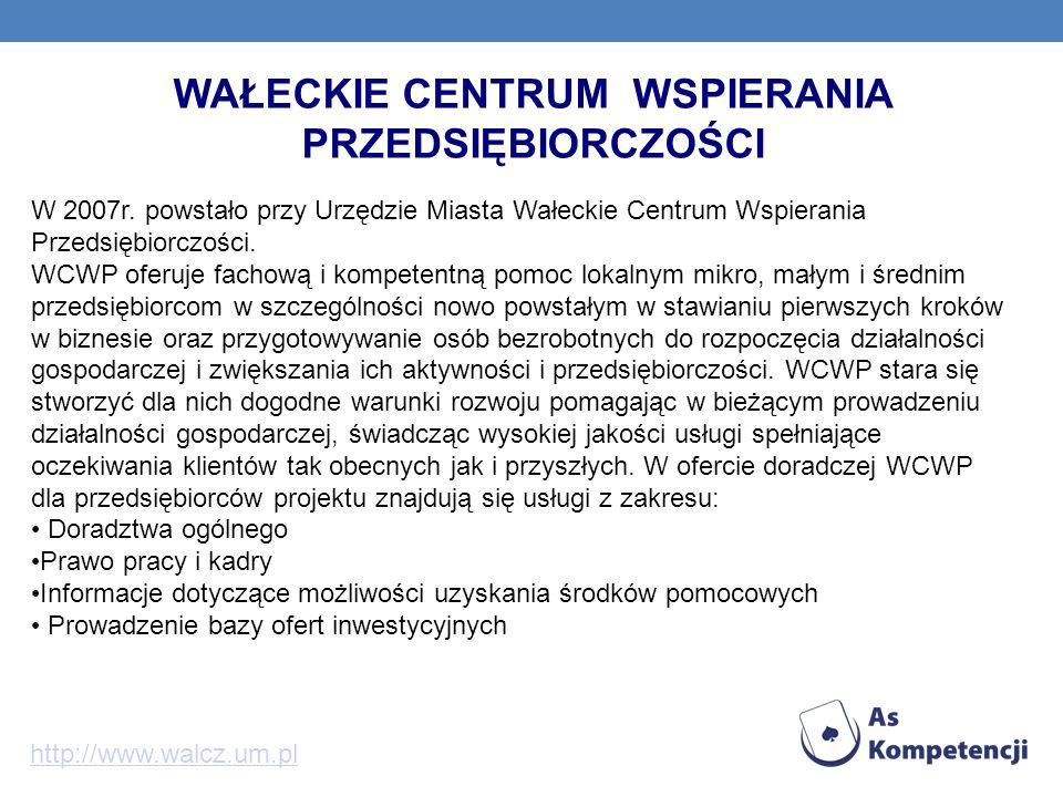 WAŁECKIE CENTRUM WSPIERANIA PRZEDSIĘBIORCZOŚCI W 2007r. powstało przy Urzędzie Miasta Wałeckie Centrum Wspierania Przedsiębiorczości. WCWP oferuje fac