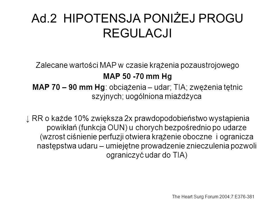Ad.2 HIPOTENSJA PONIŻEJ PROGU REGULACJI Zalecane wartości MAP w czasie krążenia pozaustrojowego MAP 50 -70 mm Hg MAP 70 – 90 mm Hg: obciążenia – udar;