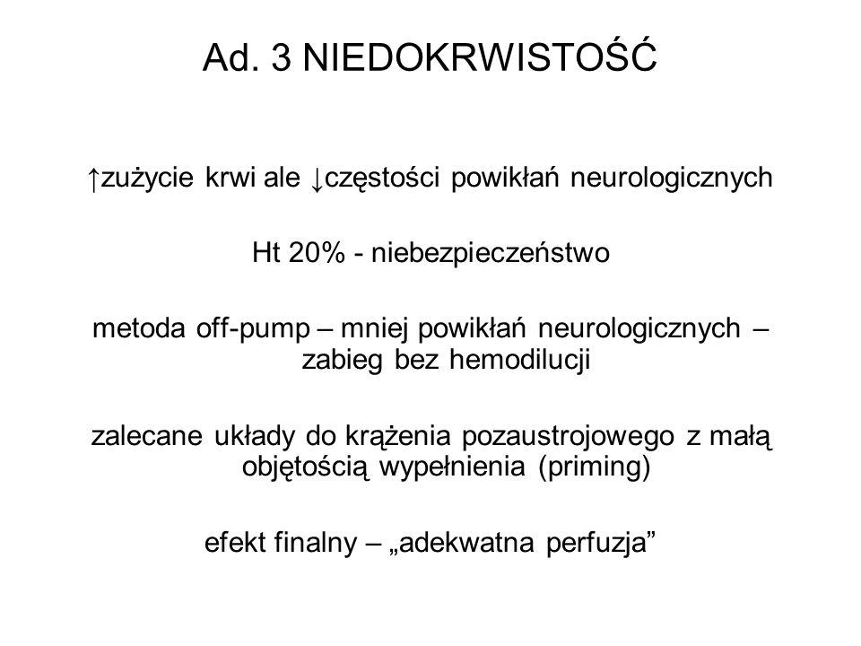 Ad. 3 NIEDOKRWISTOŚĆ zużycie krwi ale częstości powikłań neurologicznych Ht 20% - niebezpieczeństwo metoda off-pump – mniej powikłań neurologicznych –