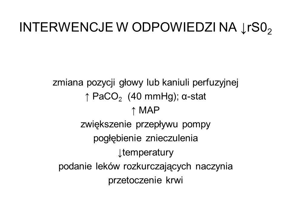 INTERWENCJE W ODPOWIEDZI NA rS0 2 zmiana pozycji głowy lub kaniuli perfuzyjnej PaCO 2 (40 mmHg); α-stat MAP zwiększenie przepływu pompy pogłębienie zn
