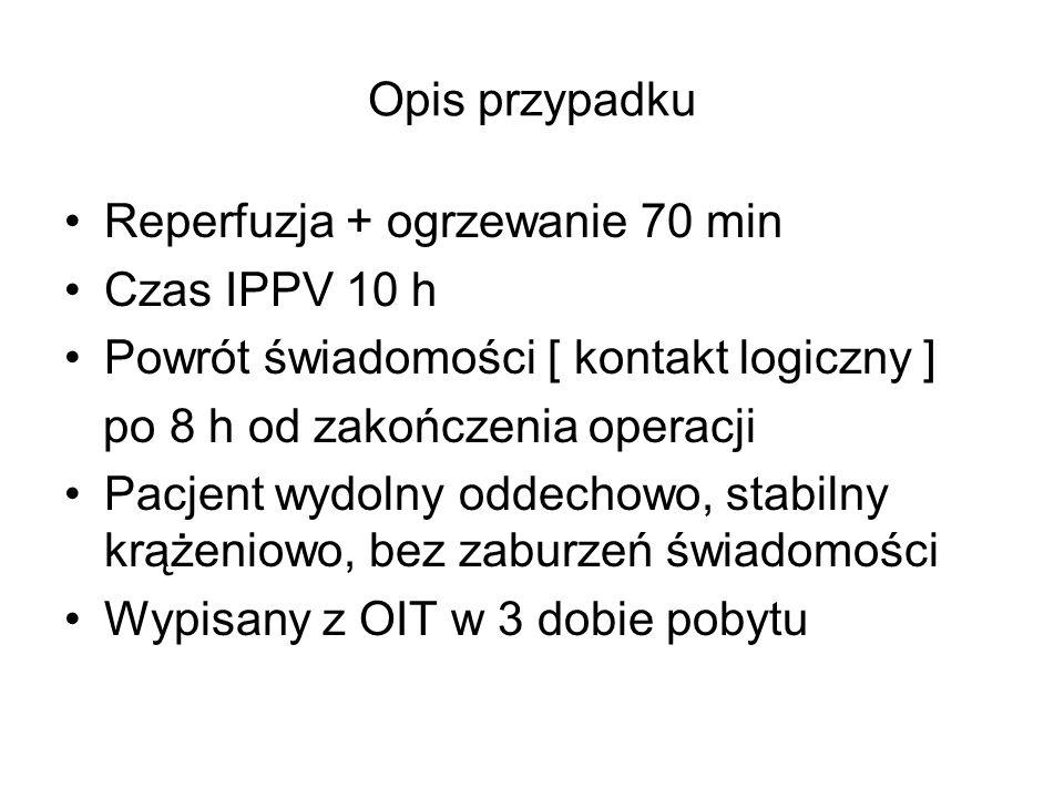 Opis przypadku Reperfuzja + ogrzewanie 70 min Czas IPPV 10 h Powrót świadomości [ kontakt logiczny ] po 8 h od zakończenia operacji Pacjent wydolny od