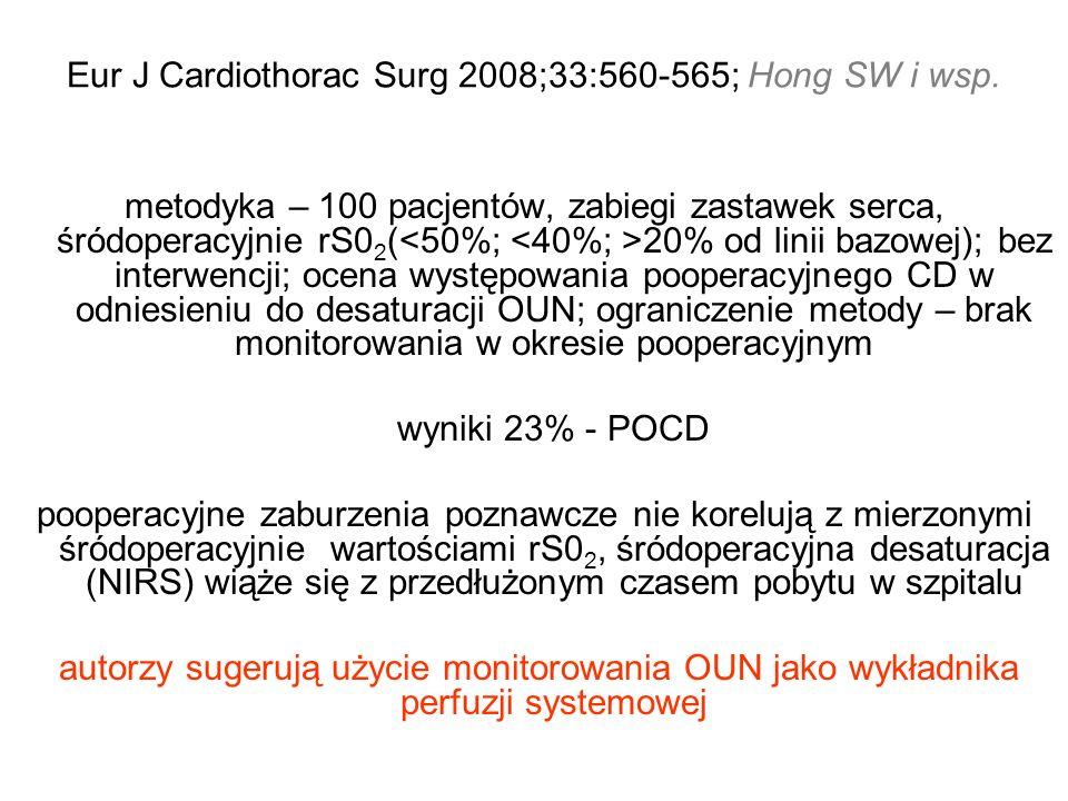 Eur J Cardiothorac Surg 2008;33:560-565; Hong SW i wsp. metodyka – 100 pacjentów, zabiegi zastawek serca, śródoperacyjnie rS0 2 ( 20% od linii bazowej