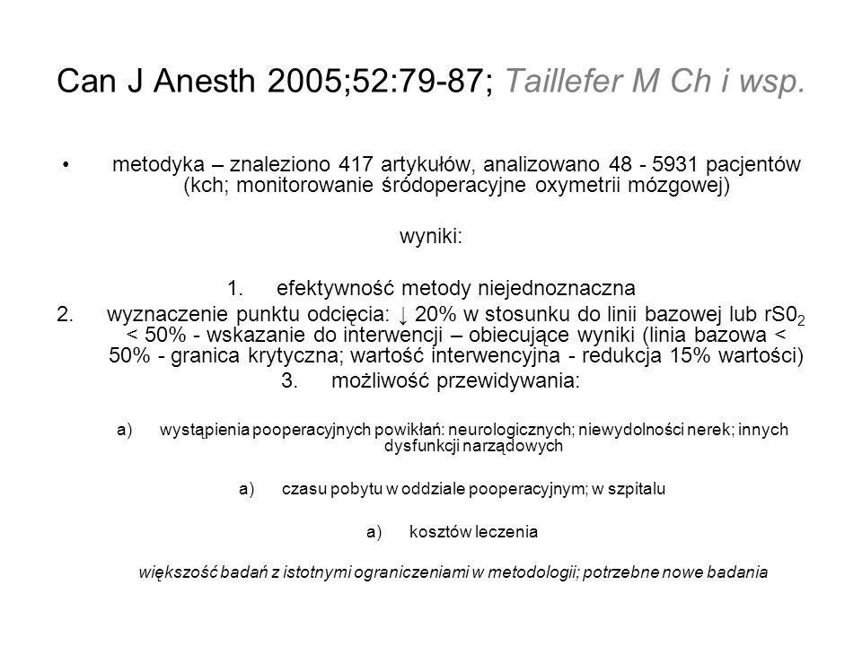 Can J Anesth 2005;52:79-87; Taillefer M Ch i wsp. metodyka – znaleziono 417 artykułów, analizowano 48 - 5931 pacjentów (kch; monitorowanie śródoperacy