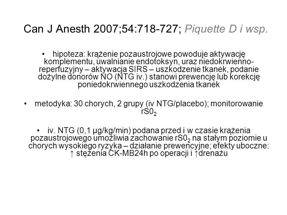 Can J Anesth 2007;54:718-727; Piquette D i wsp. hipoteza: krążenie pozaustrojowe powoduje aktywację komplementu, uwalnianie endotoksyn, uraz niedokrwi