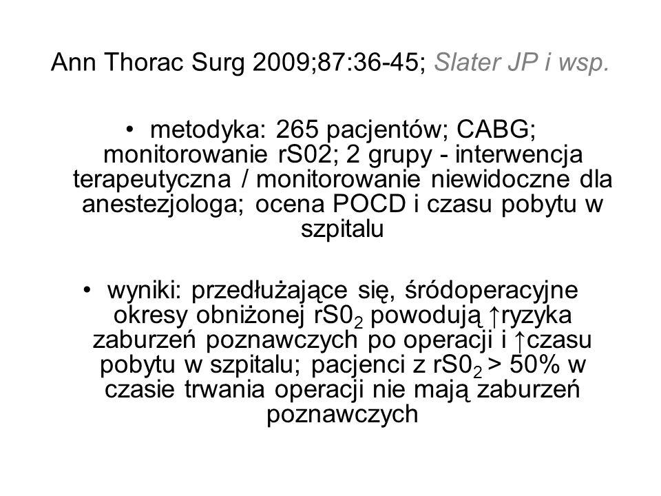 Ann Thorac Surg 2009;87:36-45; Slater JP i wsp. metodyka: 265 pacjentów; CABG; monitorowanie rS02; 2 grupy - interwencja terapeutyczna / monitorowanie