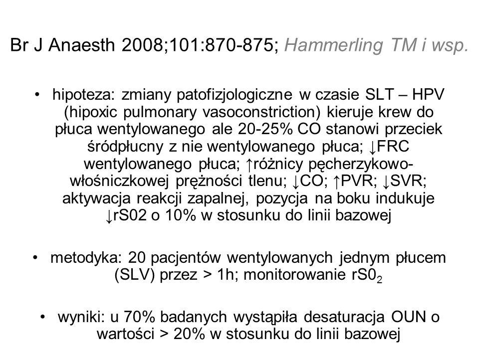 Br J Anaesth 2008;101:870-875; Hammerling TM i wsp. hipoteza: zmiany patofizjologiczne w czasie SLT – HPV (hipoxic pulmonary vasoconstriction) kieruje