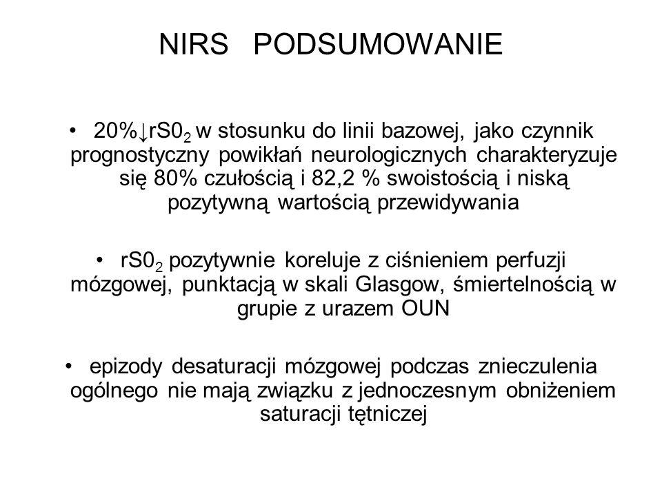 NIRS PODSUMOWANIE 20%rS0 2 w stosunku do linii bazowej, jako czynnik prognostyczny powikłań neurologicznych charakteryzuje się 80% czułością i 82,2 %