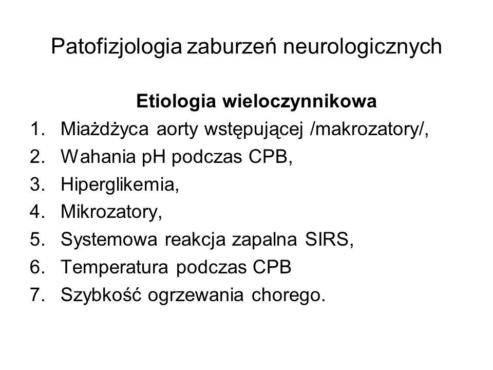 Patofizjologia zaburzeń neurologicznych Etiologia wieloczynnikowa 1.Miażdżyca aorty wstępującej /makrozatory/, 2.Wahania pH podczas CPB, 3.Hiperglikem