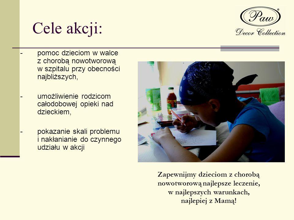 Cele akcji: -pomoc dzieciom w walce z chorobą nowotworową w szpitalu przy obecności najbliższych, -umożliwienie rodzicom całodobowej opieki nad dzieck