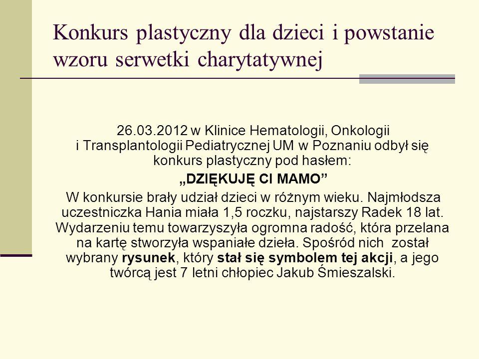 Dzieło dziecka – symbolem akcji Mała rączka 7 letniego Kubusia przebywającego na oddziale Kliniki Onkologii, Hematologii i Transplantologii Pediatrycznej UM w Poznaniu stworzyła dzieło, które było odzwierciedleniem uczuć oraz wyrazem wdzięczności dla najbliższych.