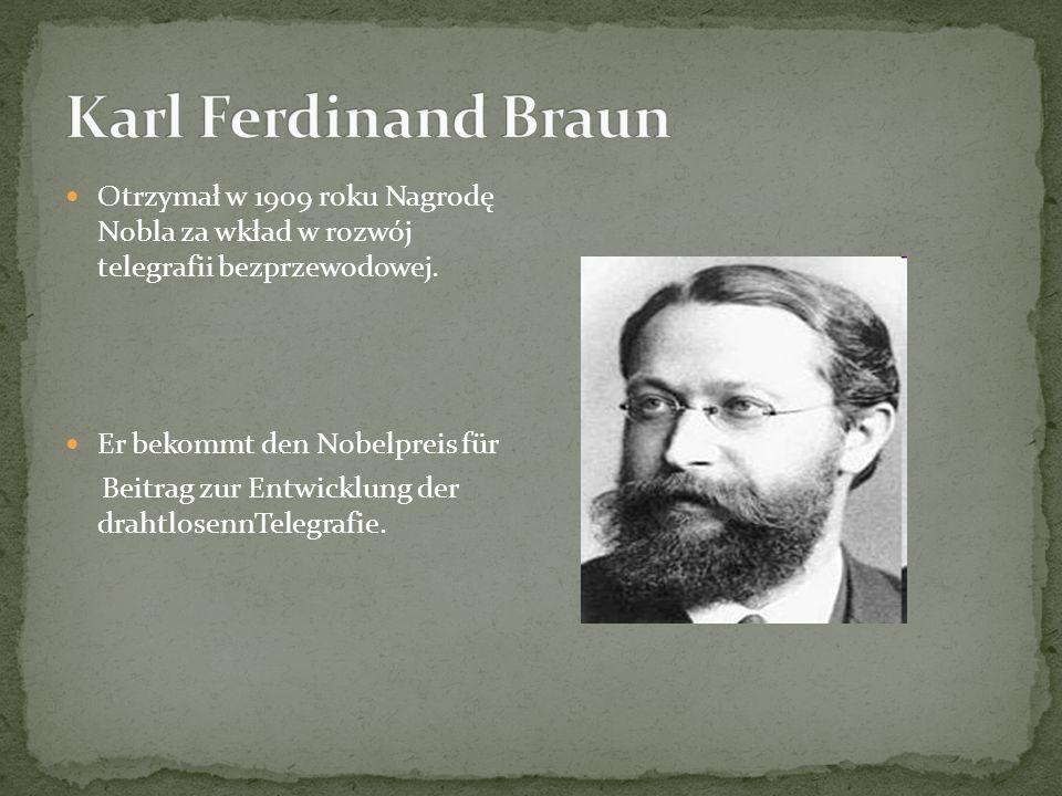 Otrzymał w 1909 roku Nagrodę Nobla za wkład w rozwój telegrafii bezprzewodowej.