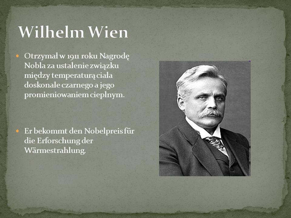 Otrzymał w 1911 roku Nagrodę Nobla za ustalenie związku między temperaturą ciała doskonale czarnego a jego promieniowaniem cieplnym.