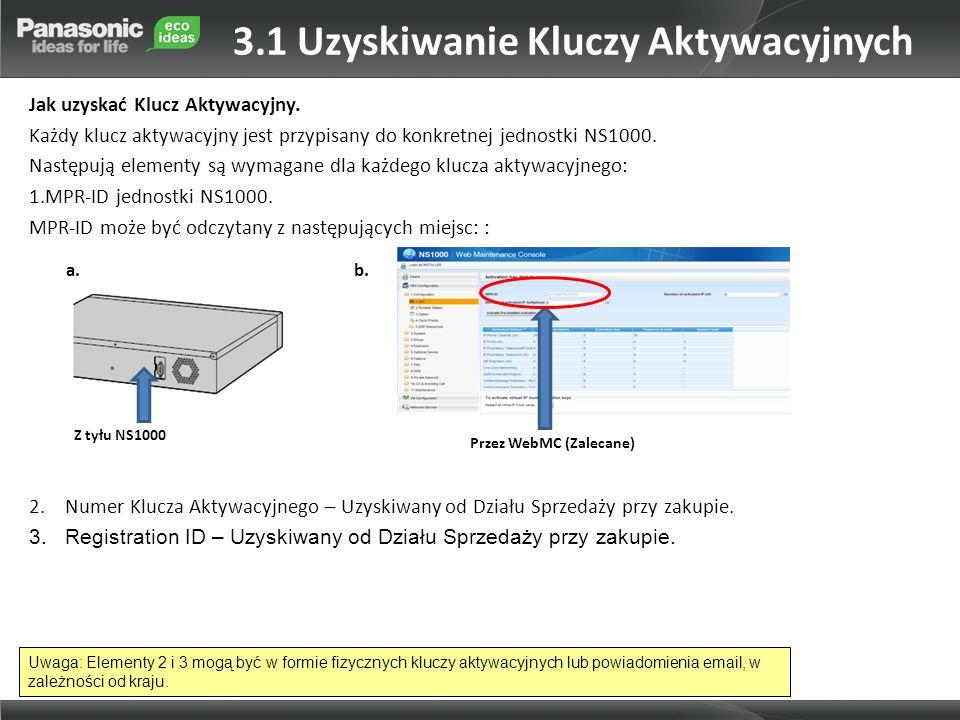 Jak uzyskać Klucz Aktywacyjny. Każdy klucz aktywacyjny jest przypisany do konkretnej jednostki NS1000. Następują elementy są wymagane dla każdego kluc
