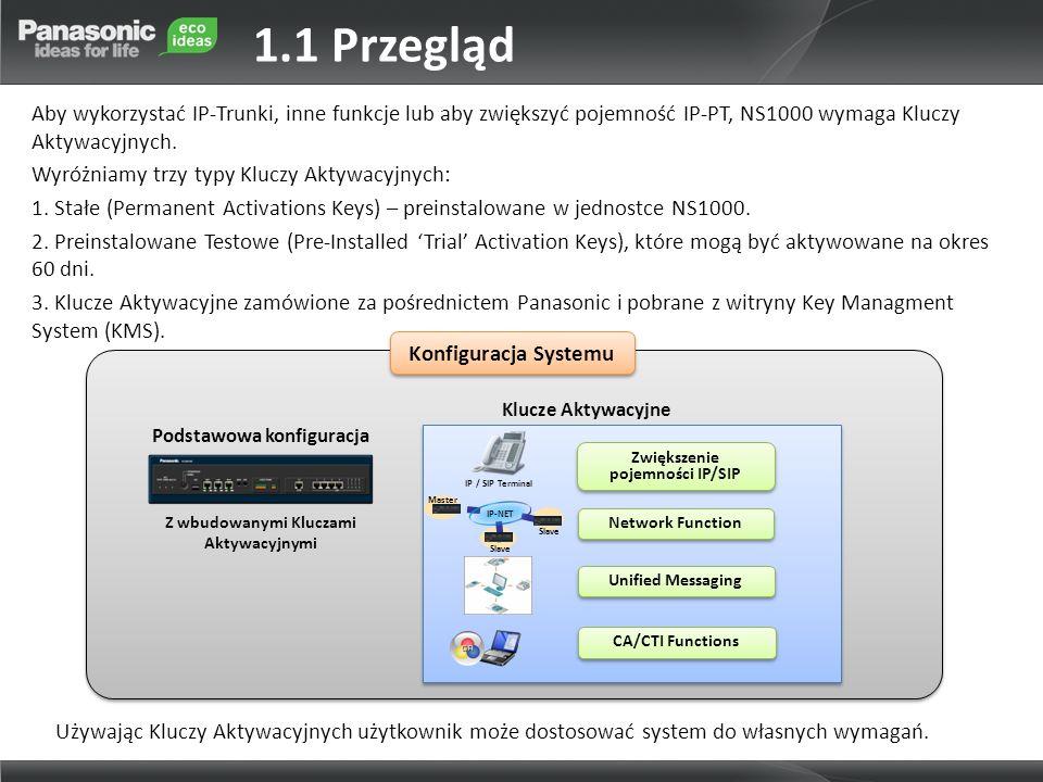 Aby wykorzystać IP-Trunki, inne funkcje lub aby zwiększyć pojemność IP-PT, NS1000 wymaga Kluczy Aktywacyjnych. Wyróżniamy trzy typy Kluczy Aktywacyjny
