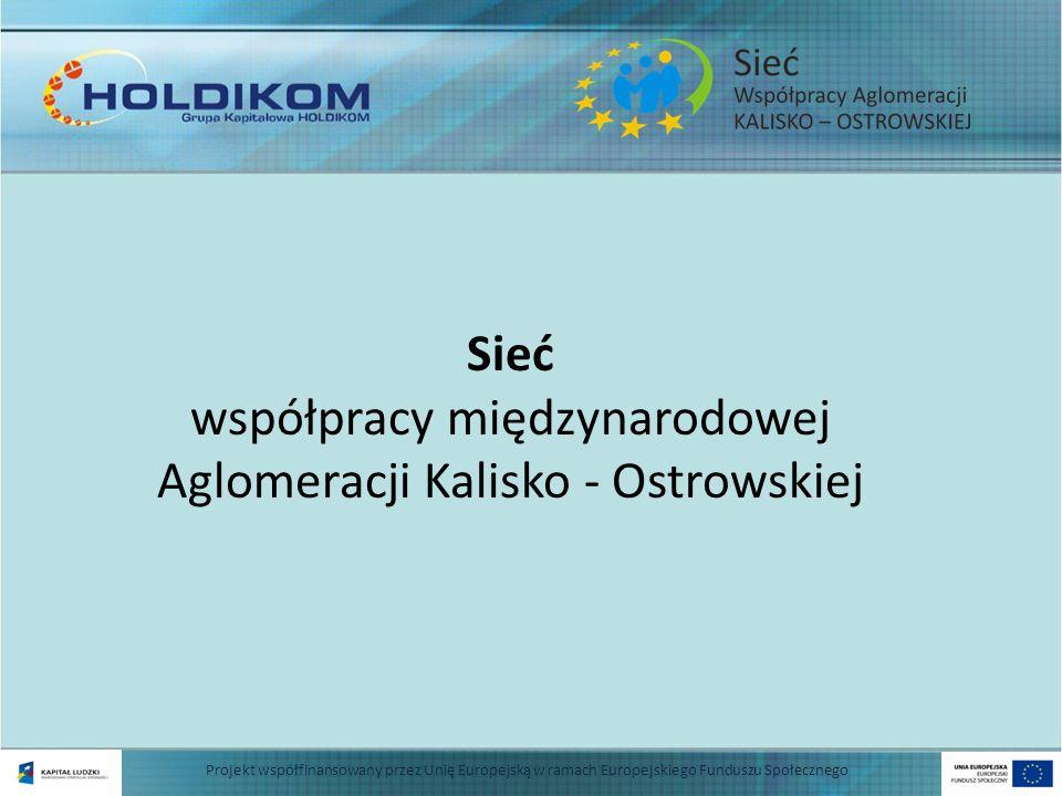Projekt współfinansowany przez Unię Europejską w ramach Europejskiego Funduszu Społecznego Sieć współpracy międzynarodowej Aglomeracji Kalisko - Ostro