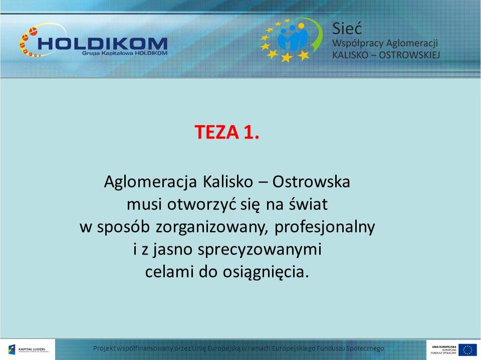 Projekt współfinansowany przez Unię Europejską w ramach Europejskiego Funduszu Społecznego TEZA 1. Aglomeracja Kalisko – Ostrowska musi otworzyć się n