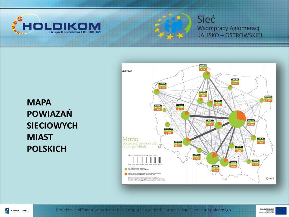 MAPA POWIAZAŃ SIECIOWYCH MIAST POLSKICH Projekt współfinansowany przez Unię Europejską w ramach Europejskiego Funduszu Społecznego