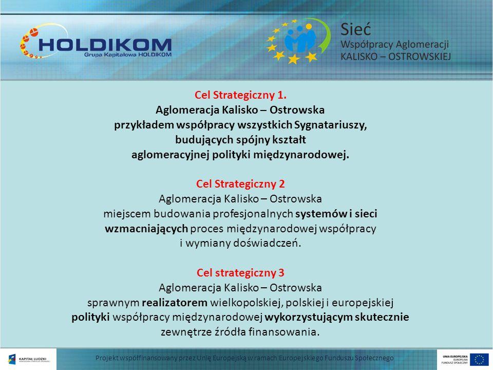 Projekt współfinansowany przez Unię Europejską w ramach Europejskiego Funduszu Społecznego WIZJA Aglomeracja Kalisko – Ostrowska ośrodkiem silnie umocowanym w europejskim przepływie wiedzy, aktywnym uczestnikiem międzynarodowej wymiany doświadczeń a także inspiratorem i realizatorem międzynarodowych inicjatyw i przedsięwzięć wzmacniających jej konkurencyjność i pozycję w międzynarodowym otoczeniu.