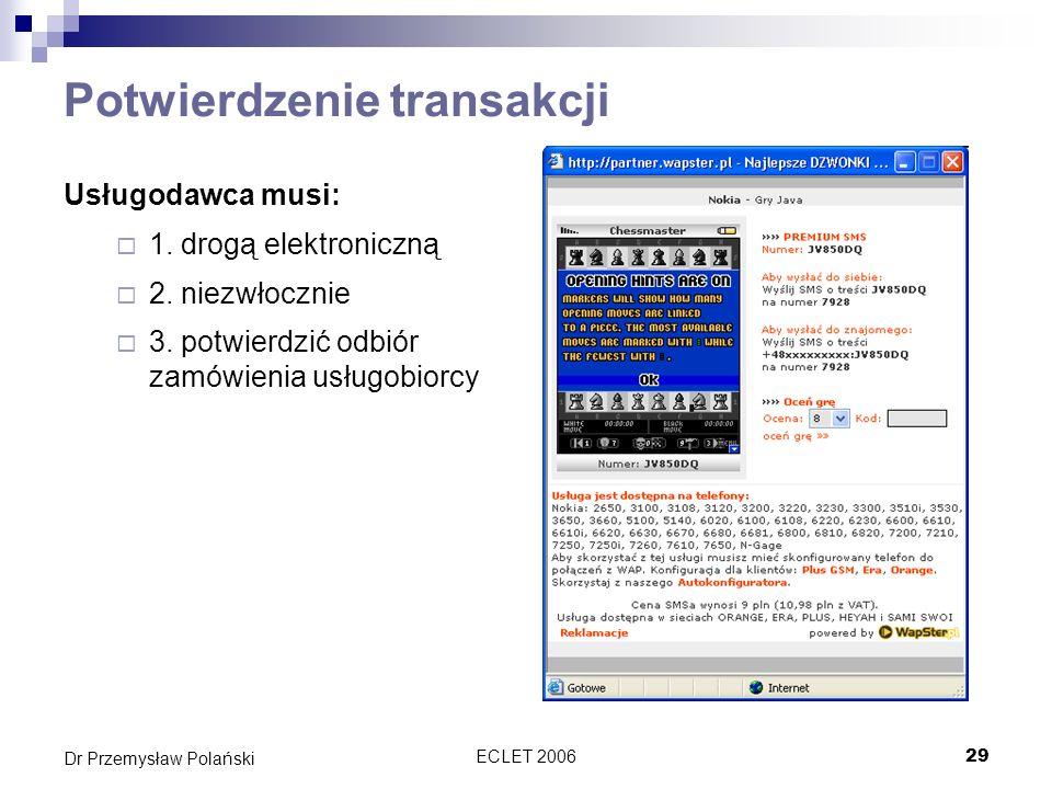 ECLET 200629 Dr Przemysław Polański Potwierdzenie transakcji Usługodawca musi: 1. drogą elektroniczną 2. niezwłocznie 3. potwierdzić odbiór zamówienia