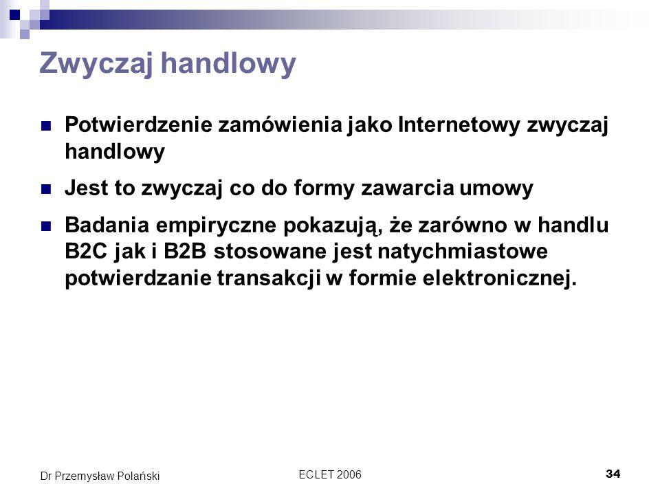 ECLET 200635 Dr Przemysław Polański Numer zamówienia Elementem dodatkowym o którym nie wspomina dyrektywa to numer zamówienia, który powinien się pojawić w potwierdzeniu Potwierdzenie może mieć miejsce: Przez WWW i emaila Tylko WWW Tylko emaila