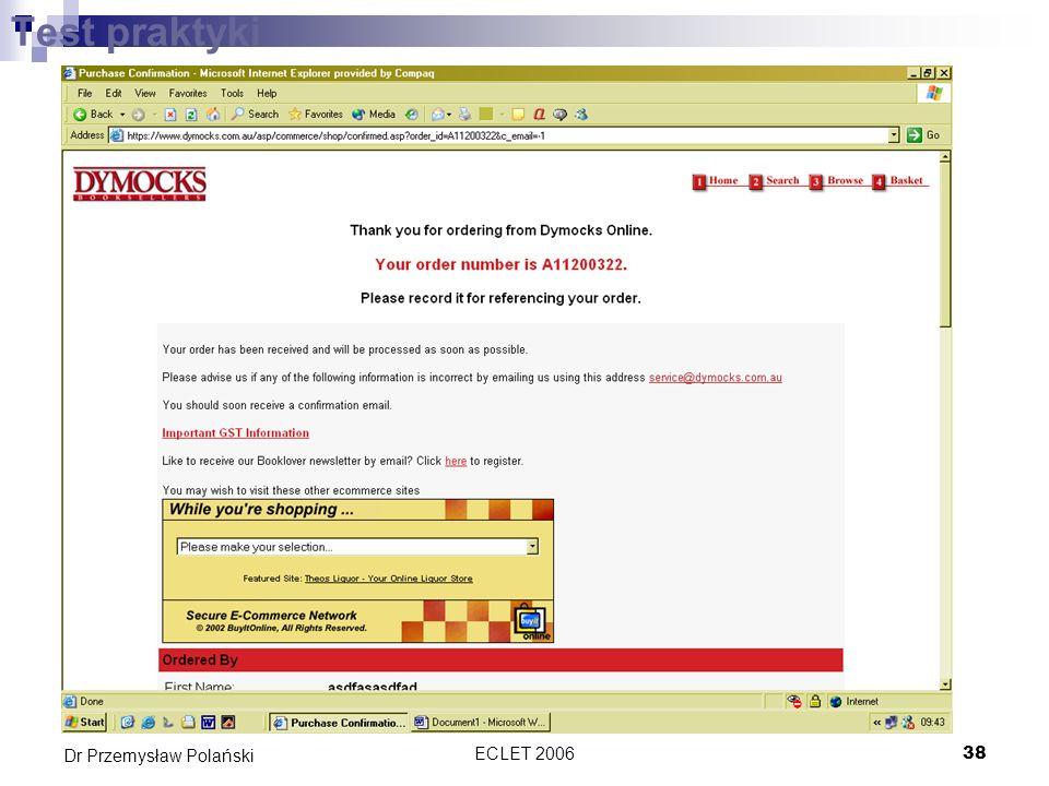 ECLET 200638 Dr Przemysław Polański Test praktyki