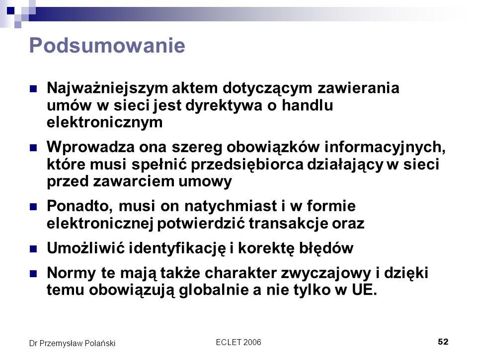 ECLET 200652 Dr Przemysław Polański Podsumowanie Najważniejszym aktem dotyczącym zawierania umów w sieci jest dyrektywa o handlu elektronicznym Wprowa