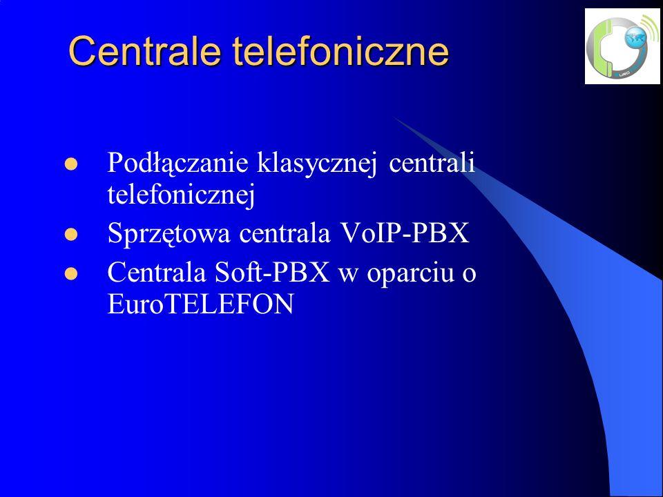 Centrale telefoniczne Centrale telefoniczne Podłączanie klasycznej centrali telefonicznej Sprzętowa centrala VoIP-PBX Centrala Soft-PBX w oparciu o EuroTELEFON