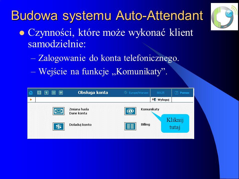 Budowa systemu Auto-Attendant Czynności, które może wykonać klient samodzielnie: –Zalogowanie do konta telefonicznego.