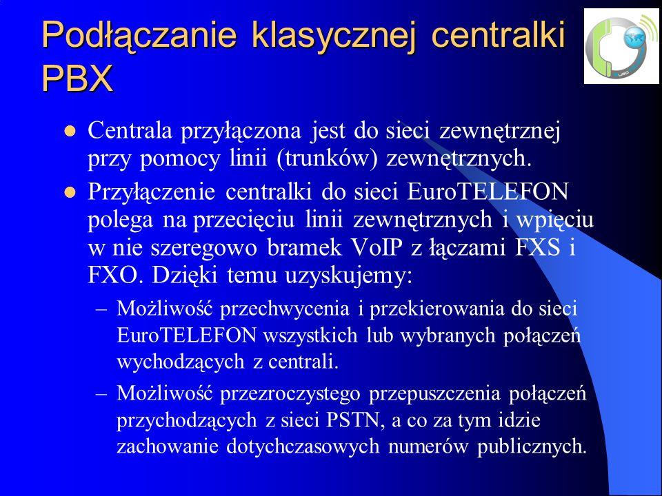 Podłączanie klasycznej centralki PBX Centrala przyłączona jest do sieci zewnętrznej przy pomocy linii (trunków) zewnętrznych.