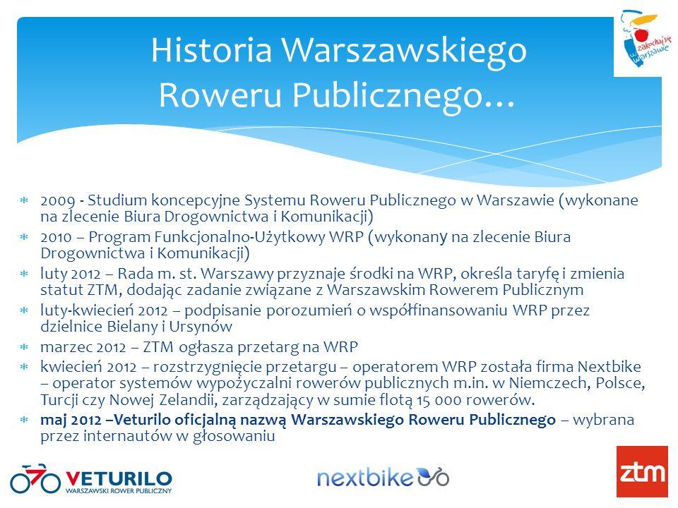 Historia Warszawskiego Roweru Publicznego… 2009 - Studium koncepcyjne Systemu Roweru Publicznego w Warszawie (wykonane na zlecenie Biura Drogownictwa
