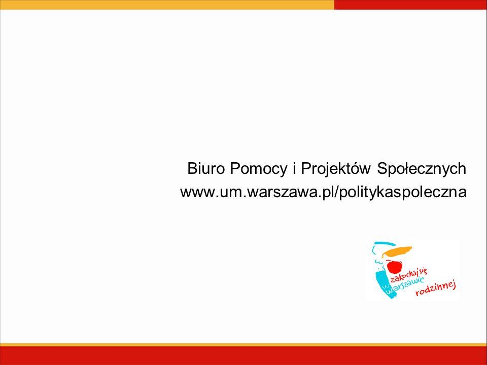 Biuro Pomocy i Projektów Społecznych www.um.warszawa.pl/politykaspoleczna