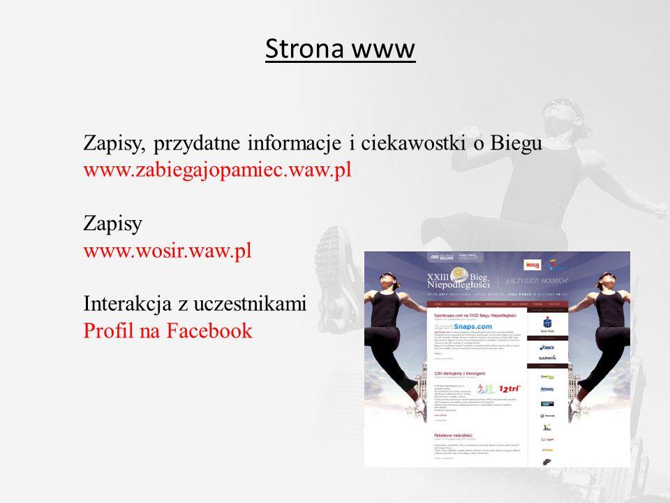 Strona www Zapisy, przydatne informacje i ciekawostki o Biegu www.zabiegajopamiec.waw.pl Zapisy www.wosir.waw.pl Interakcja z uczestnikami Profil na F