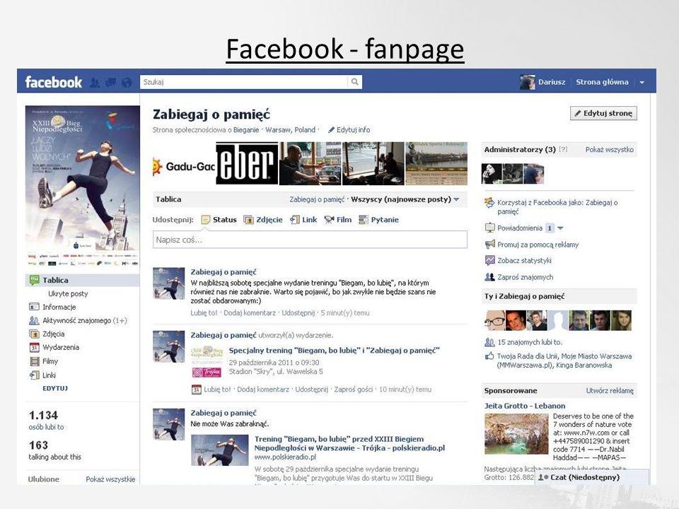 Facebook - fanpage