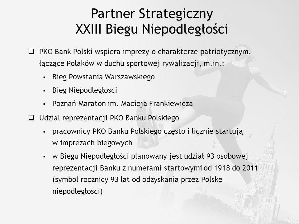 Partner Strategiczny XXIII Biegu Niepodległości PKO Bank Polski wspiera imprezy o charakterze patriotycznym, łączące Polaków w duchu sportowej rywaliz