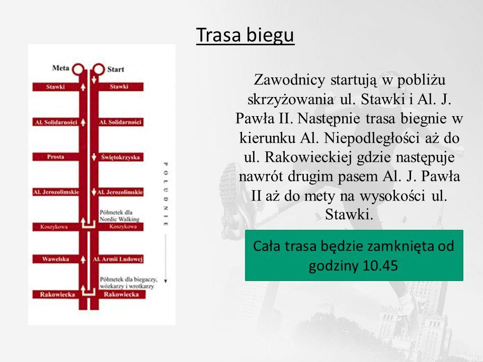 Trasa biegu Zawodnicy startują w pobliżu skrzyżowania ul. Stawki i Al. J. Pawła II. Następnie trasa biegnie w kierunku Al. Niepodległości aż do ul. Ra