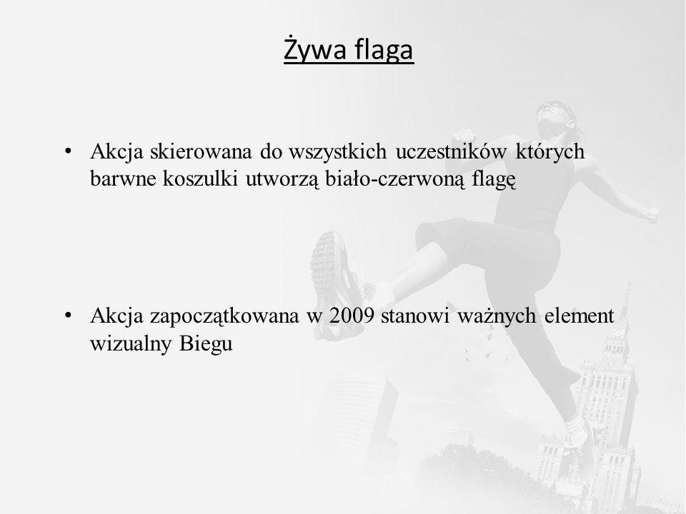 Żywa flaga Akcja skierowana do wszystkich uczestników których barwne koszulki utworzą biało-czerwoną flagę Akcja zapoczątkowana w 2009 stanowi ważnych element wizualny Biegu