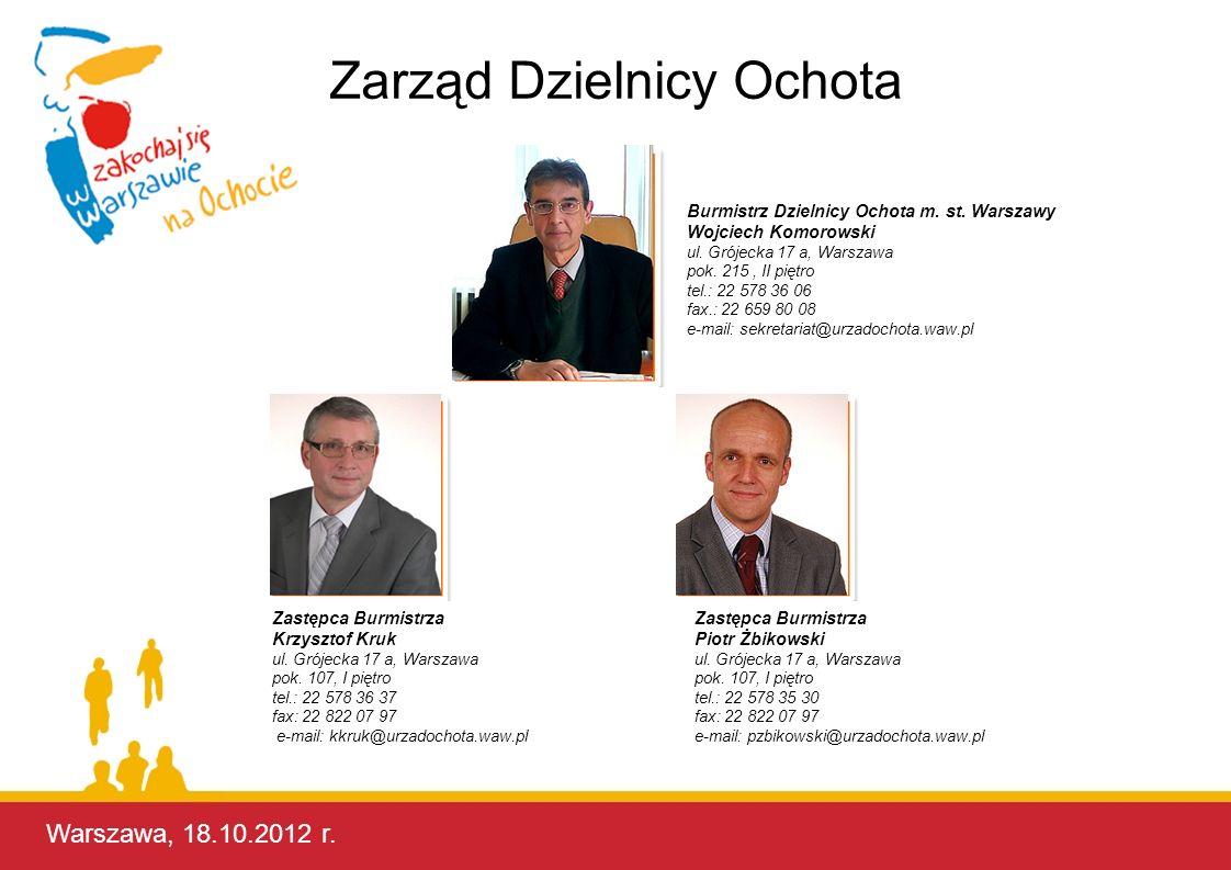 Warszawa, 17.10.2012 r. Burmistrz Dzielnicy Ochota m. st. Warszawy Wojciech Komorowski ul. Grójecka 17 a, Warszawa pok. 215, II piętro tel.: 22 578 36