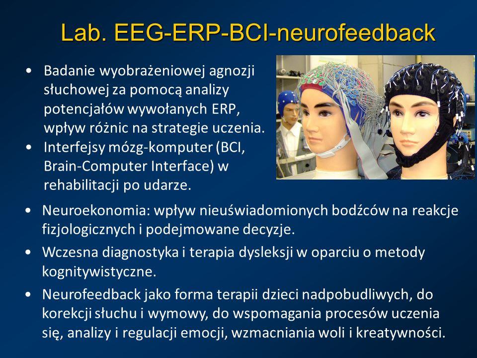 Lab. EEG-ERP-BCI-neurofeedback Badanie wyobrażeniowej agnozji słuchowej za pomocą analizy potencjałów wywołanych ERP, wpływ różnic na strategie uczeni