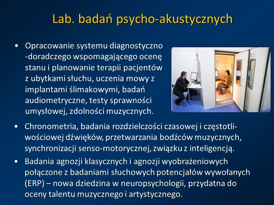 Lab. badań psycho-akustycznych Opracowanie systemu diagnostyczno -doradczego wspomagającego ocenę stanu i planowanie terapii pacjentów z ubytkami słuc